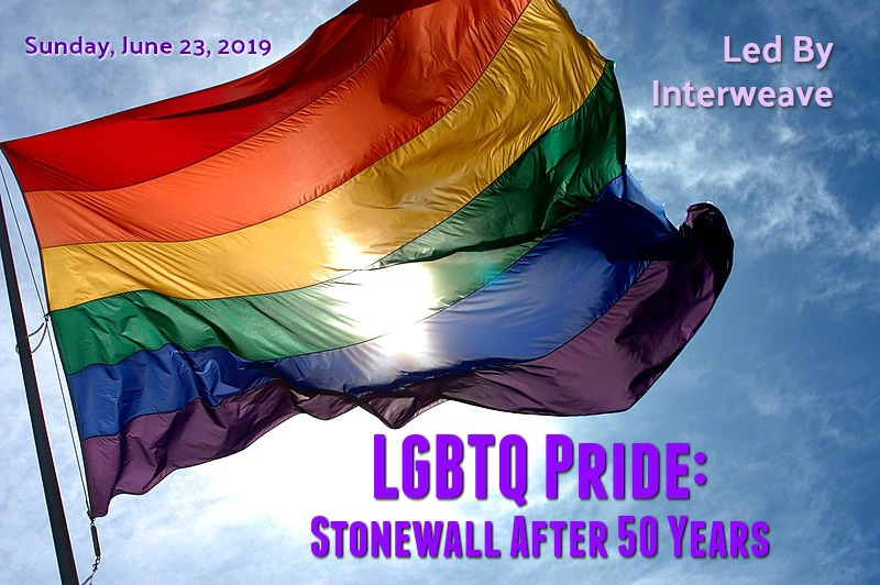 "Pride flag waving in the breeze with blue skies behind. Text ""LGBTQ Pride: Stonewall After 50 Years"""