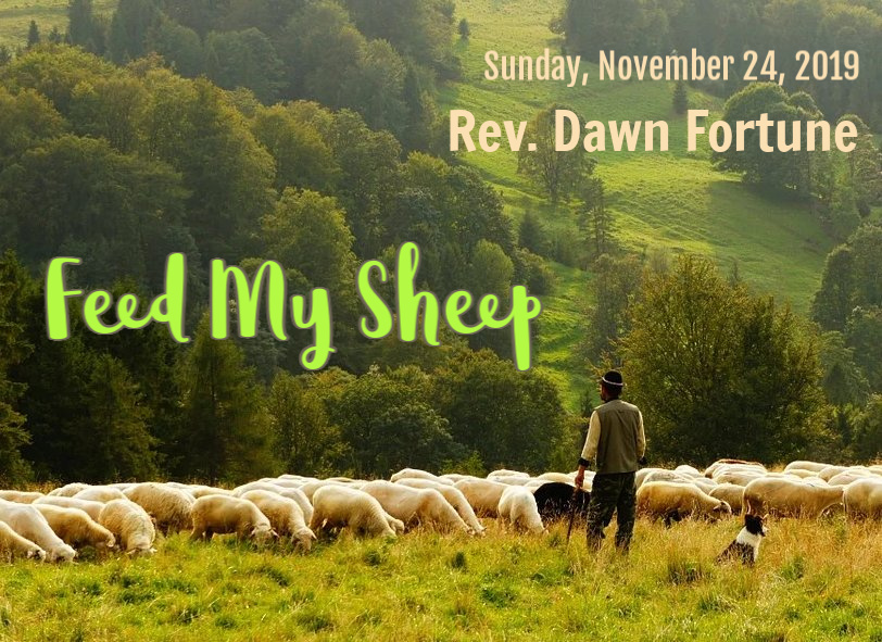 shepherd with flock of sheep in a beautiful green valley